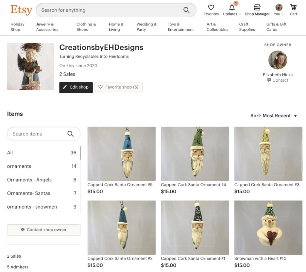 View of Beth's Etsy Store